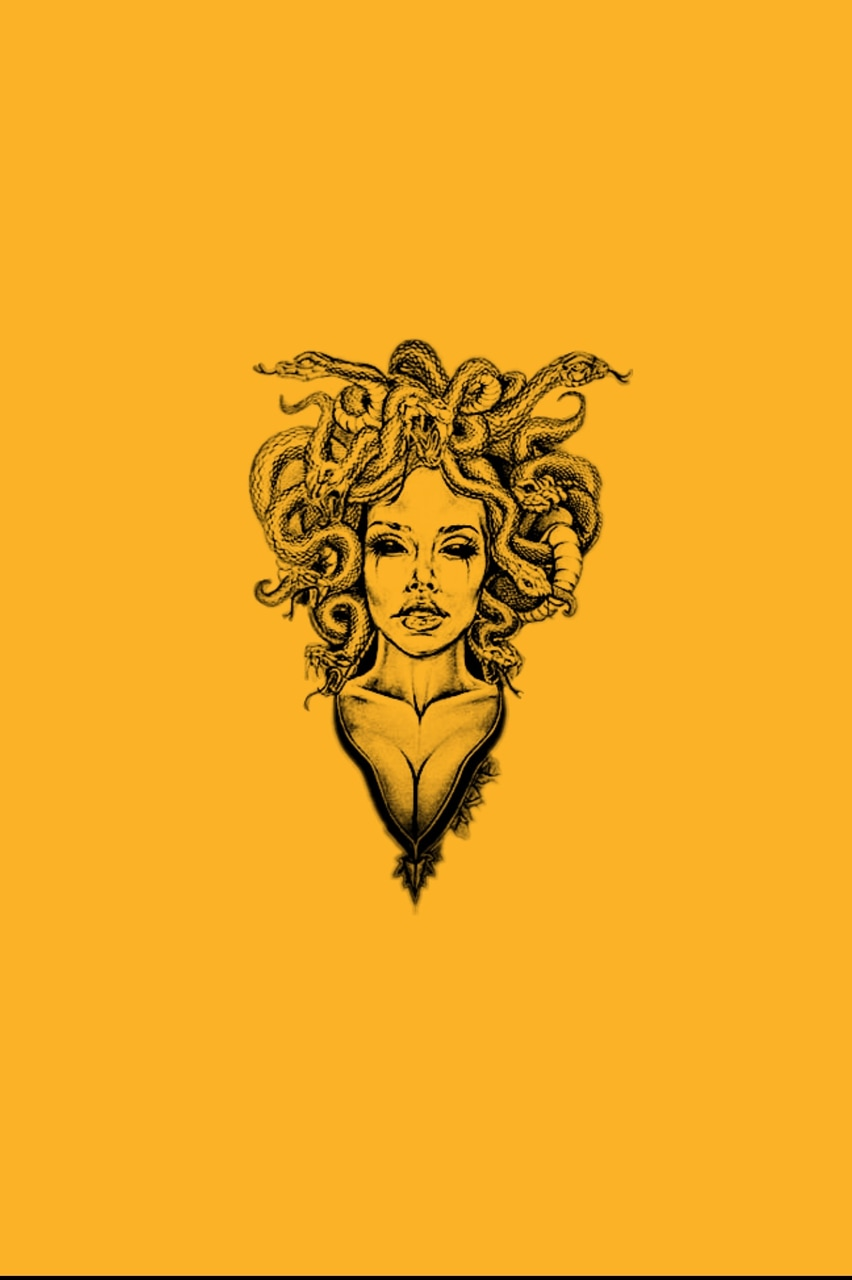background, yellow, medusa and
