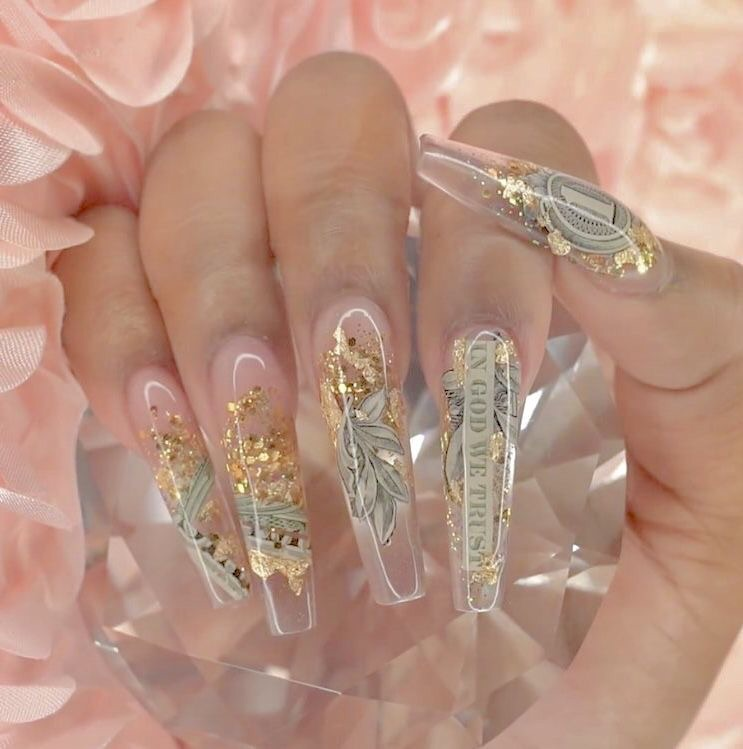 beauty, pink, girly and coffin shape nails