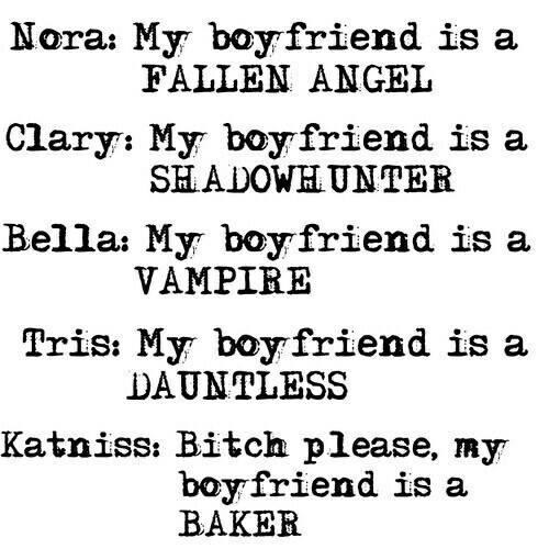 the hunger games, clary, katniss and tris