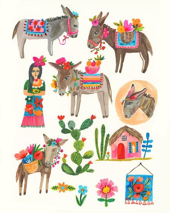 horse, draw, mexican and donkey