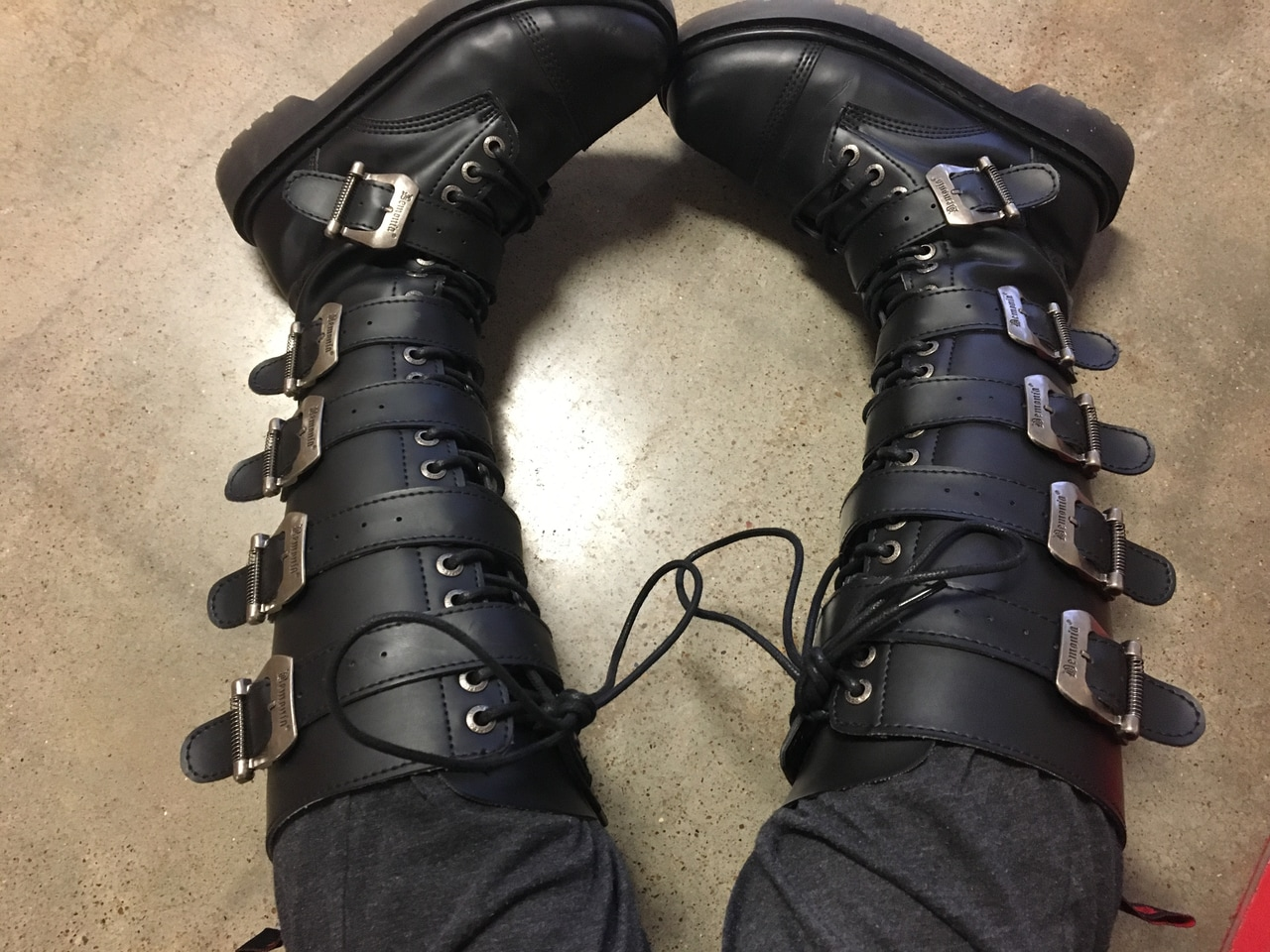 boots, knee high black boots, buckled boots and emo