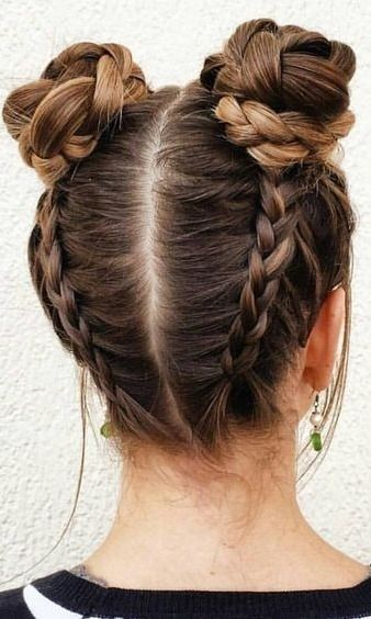 braided hair, braided space buns, awesome hairstyles and braids