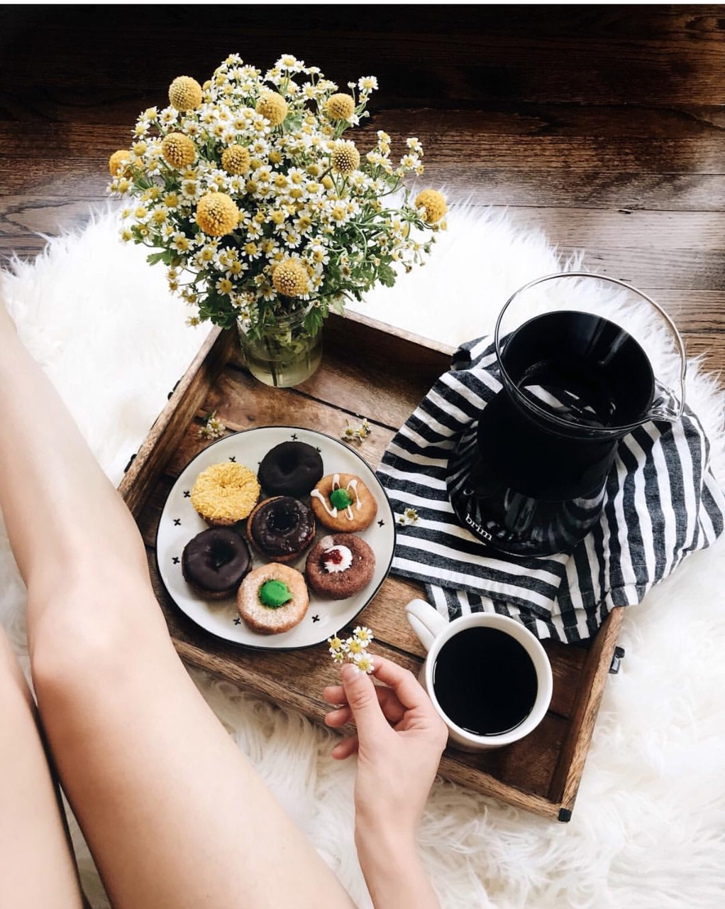 desserts, coffee, flowers and sweets