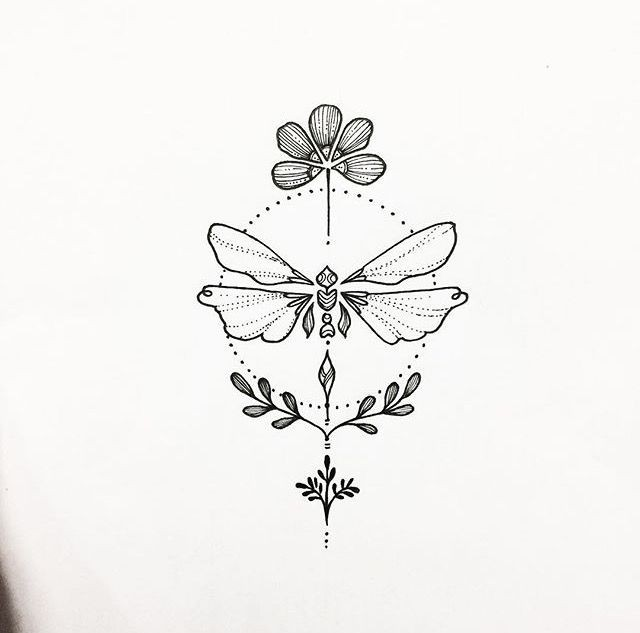 flower, dragonfly, draw and tattoo design