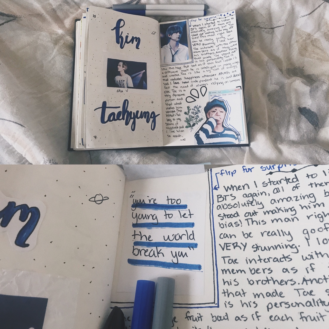 kim taehyung, journaling, kpop journal and bts aesthetic