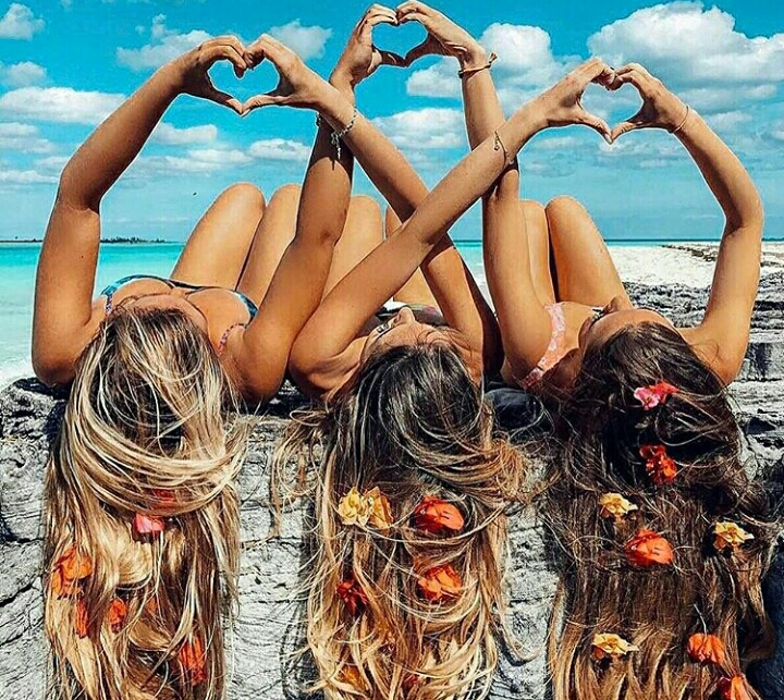 sea, happy, friends and hair