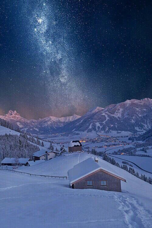stars, cabin and snow