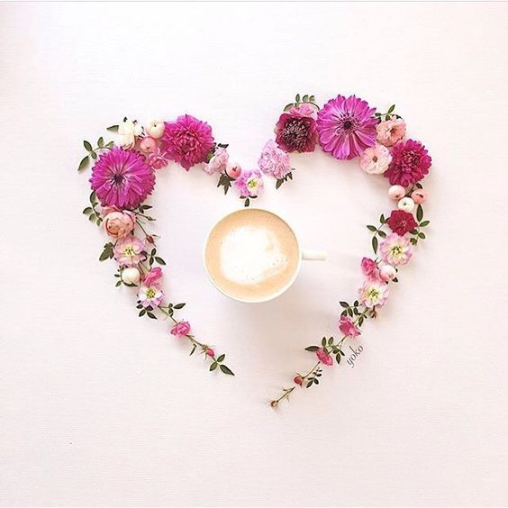 flowers, coffee, drinks and heart