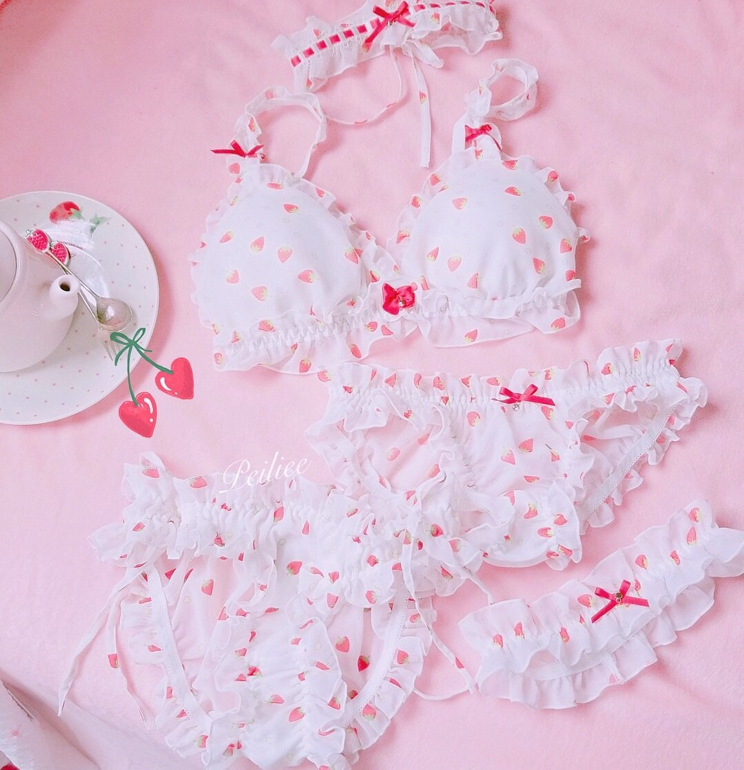 frilly, underwear and fruit print
