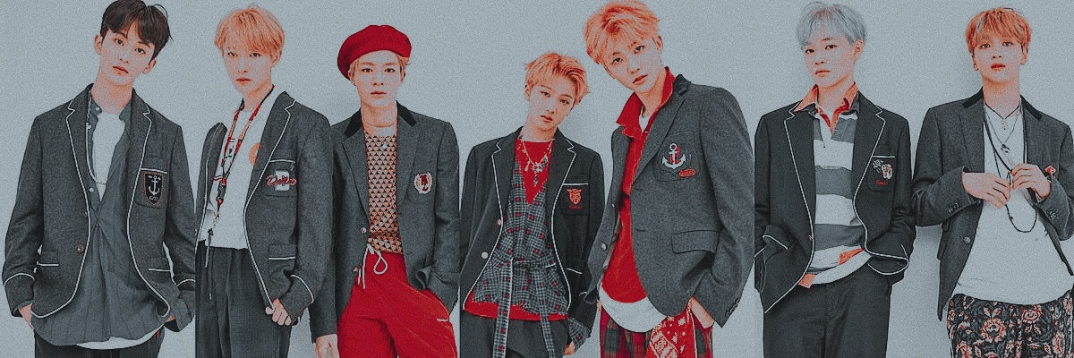 kpop, twitter header, red and grey and nct