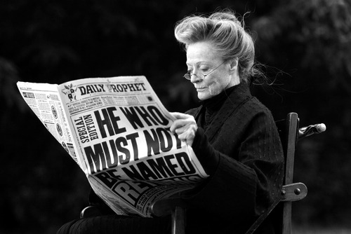 minerva mcgonagall, harry potter, black and white and maggie smith