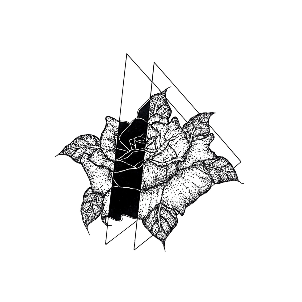tattoo idea, black and white and dot work
