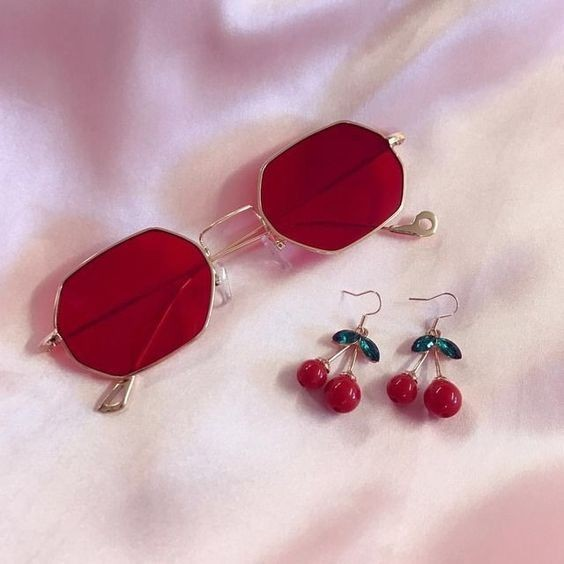 cherry bomb, red, sunglasses and cherry earrings