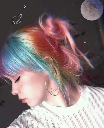 hairstyle, rainbow, light and pink hair