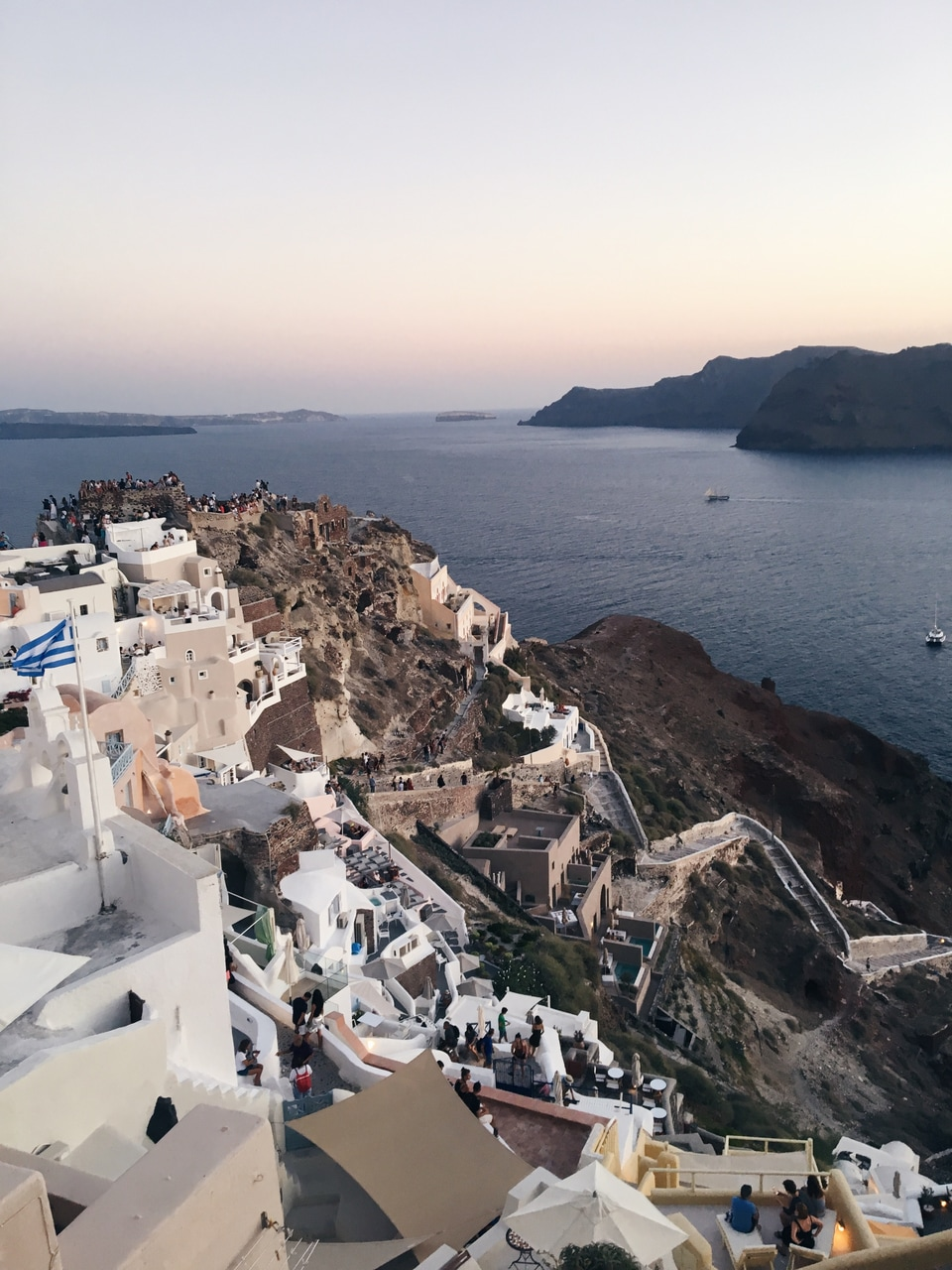 greece, view, travelling and sunset