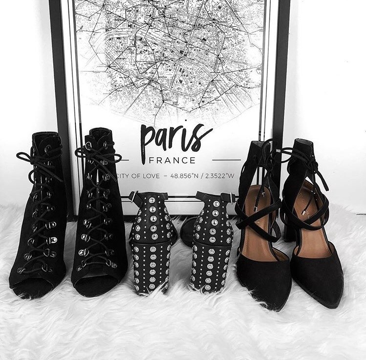 heels, shoes and map