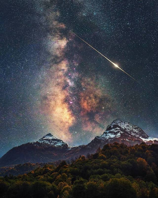 milky way, russia and landscape