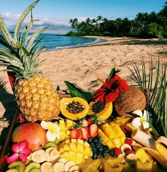 vacation, tropical vibes, tropical fruits and paradise