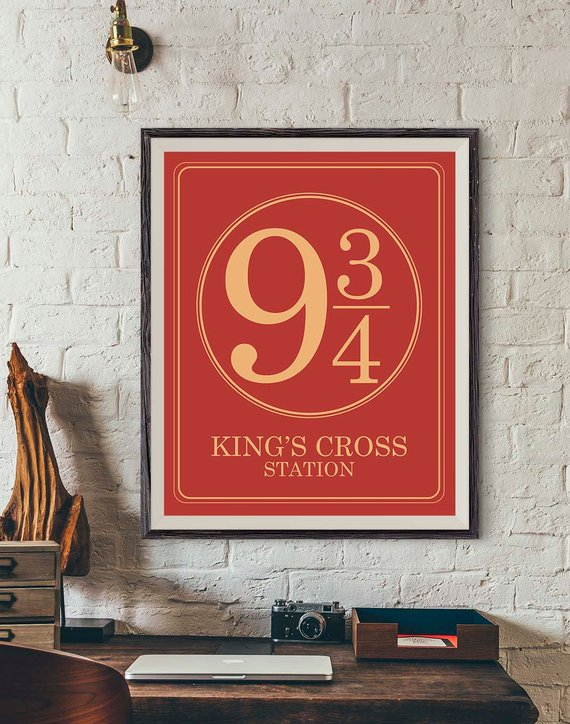 hogwarts express, typography print, etsy and 9 and 3 quarters