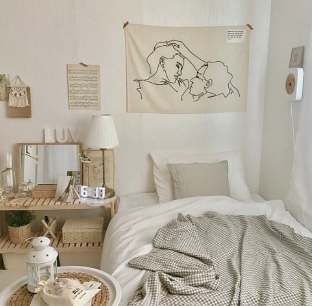 nude, minimal and bed