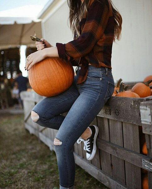 girl, pumpkin patch and nature