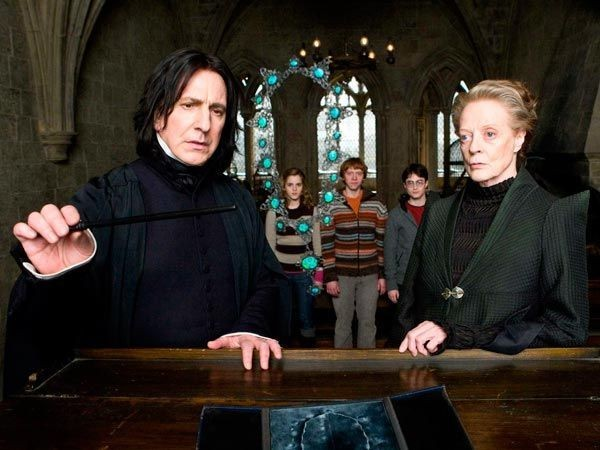 minerva mcgonagall, severo snape, harry potter and the half blood prince and harry potter