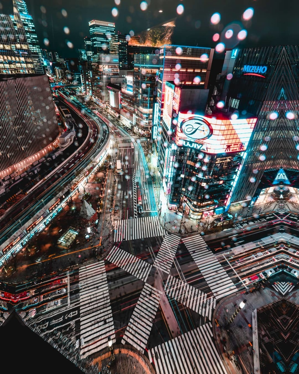 night, aerial photography and tokyo