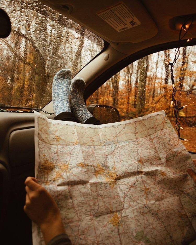 autumn, leaves and map