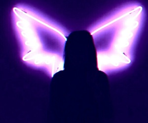 aesthetic, wings and lights