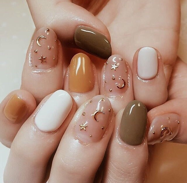 golden, nail polish and stars