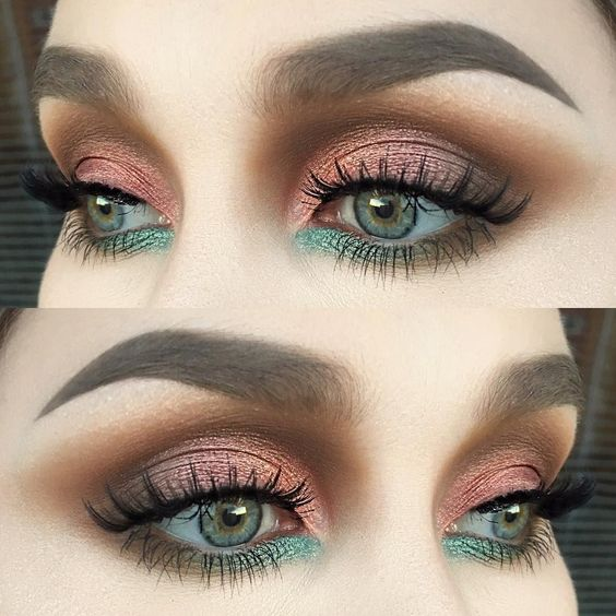 green, eyebrows and makeup