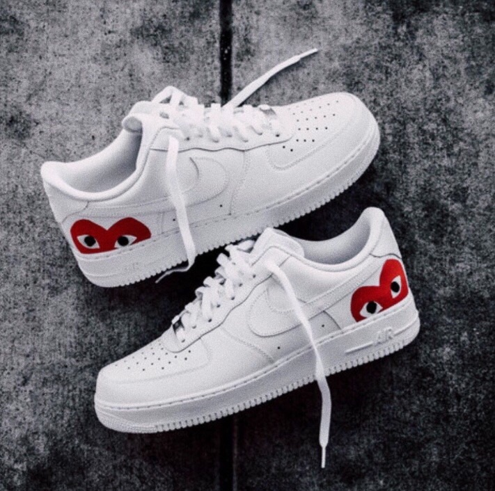 air force 1, red, shoes and heart