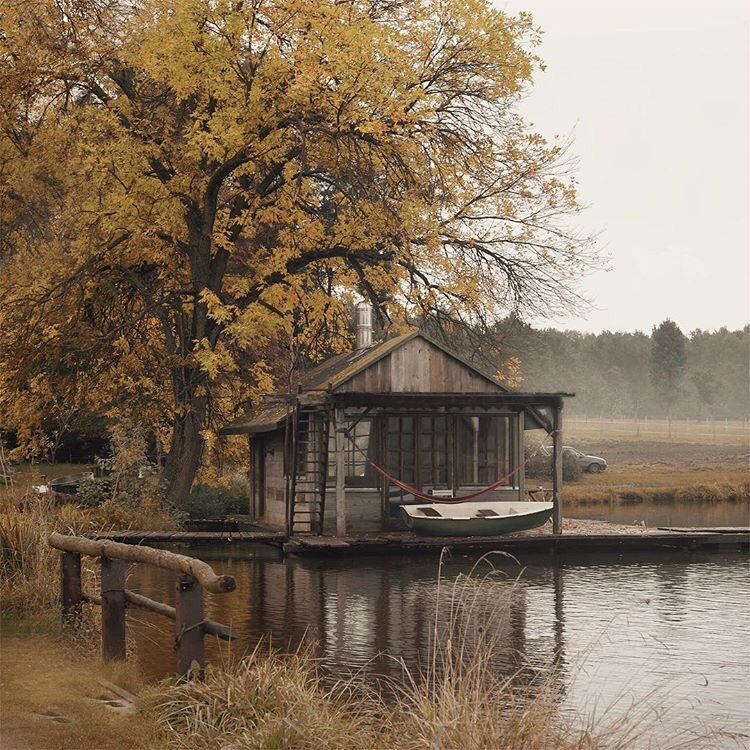 autumn, river and house
