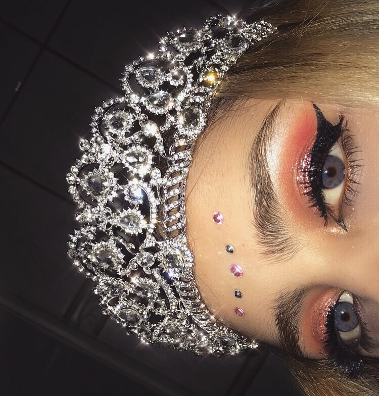 glitter, tiara, eyebrows and crown