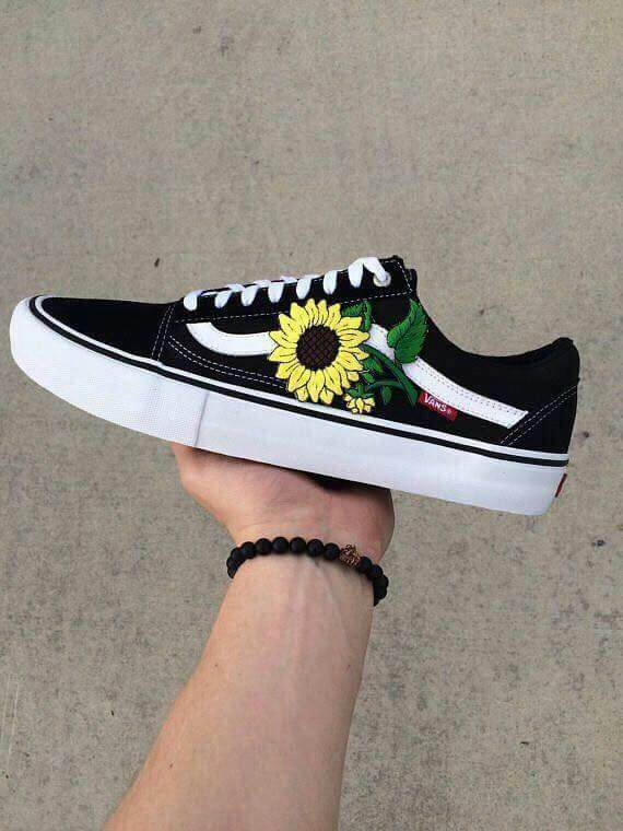 shoes, sunflower and vans - image