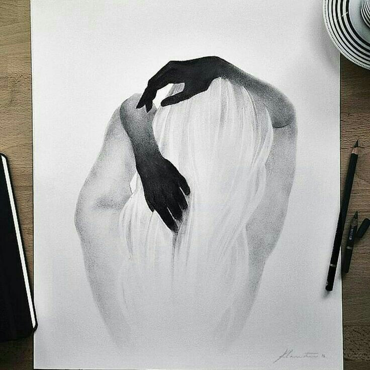 dark, draw, black and white and girl drawing
