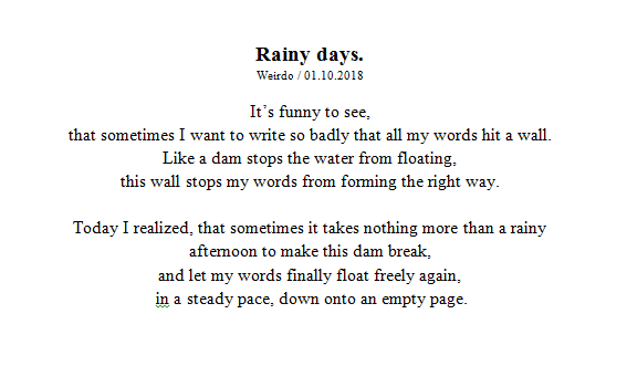 autumn, writing, rain and thoughts