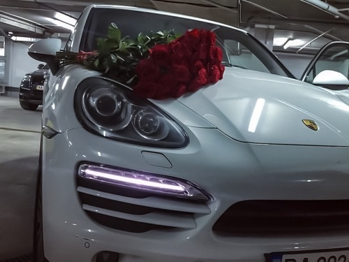 love, roses, car and white