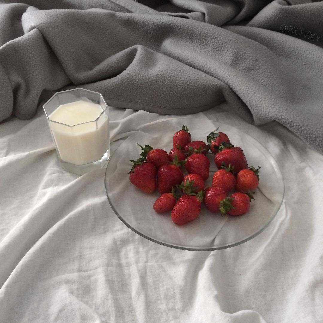 milk, food and strawberry