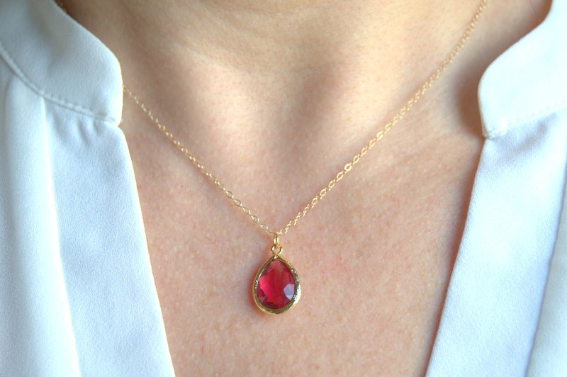 teardrop necklace, 14k gold filled, layering necklace and red crystal necklace