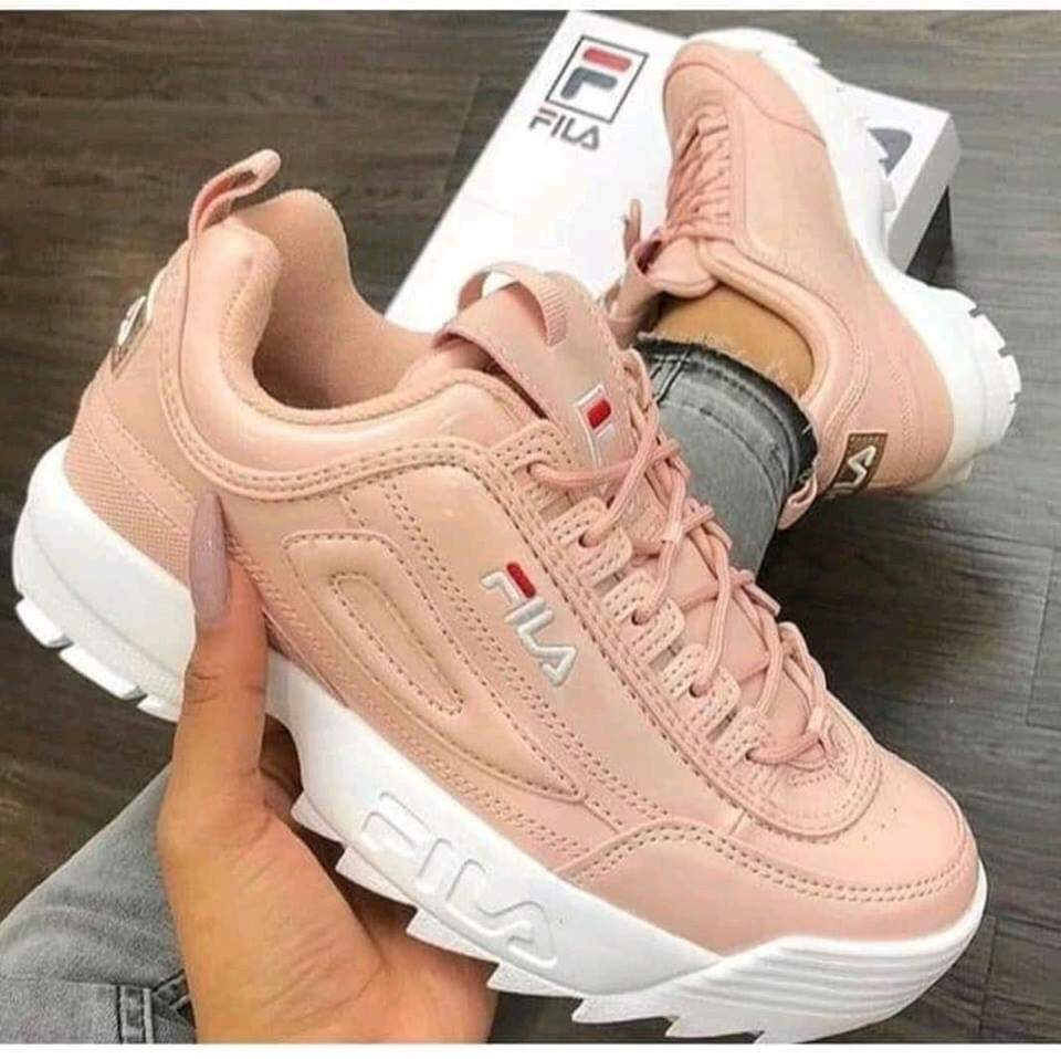 sneakers, pastel pink and fila - image