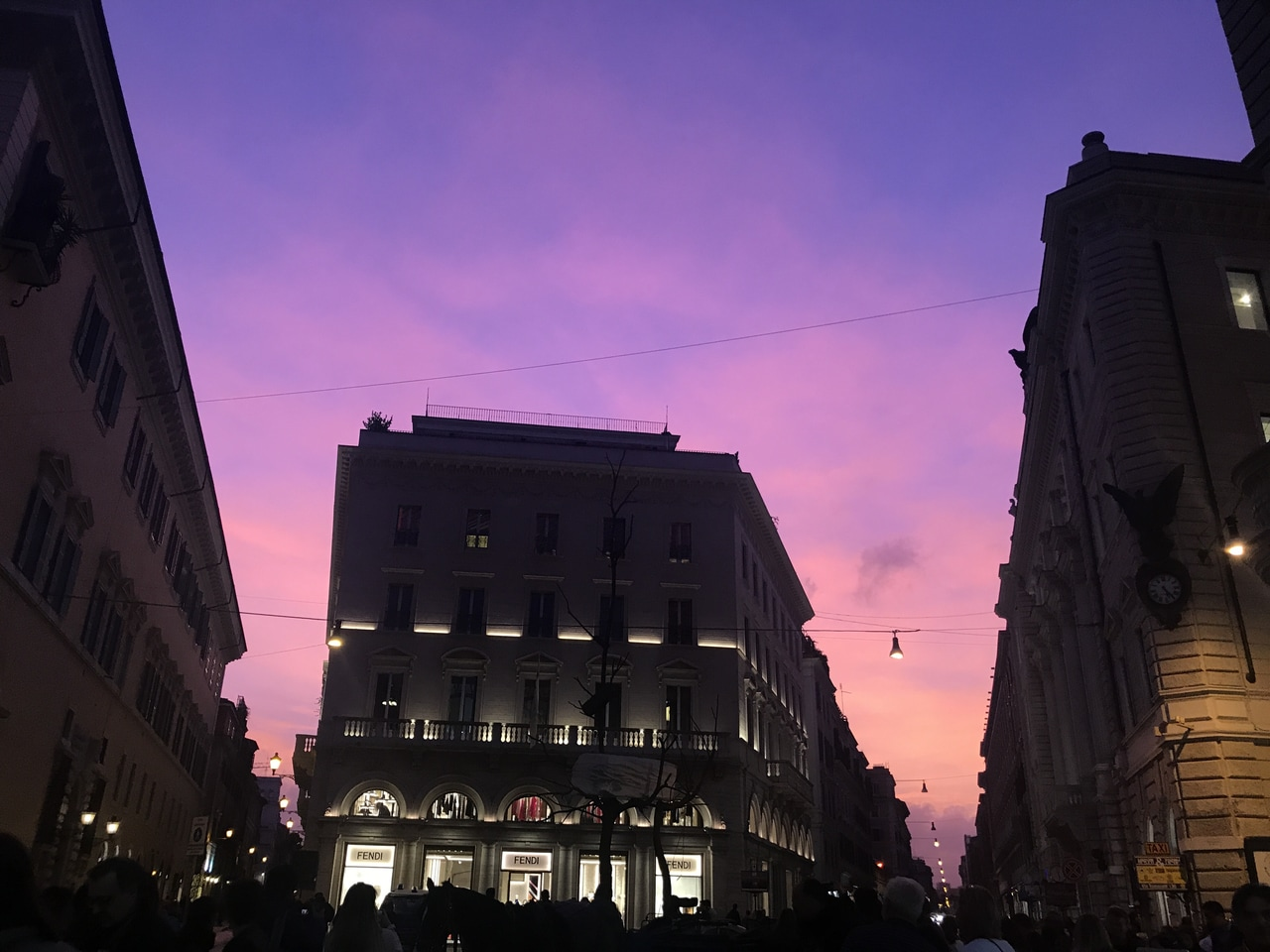 pink, purple sky, fall and pretty sky