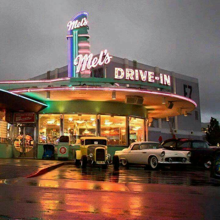 1950, drive, neon and drive in