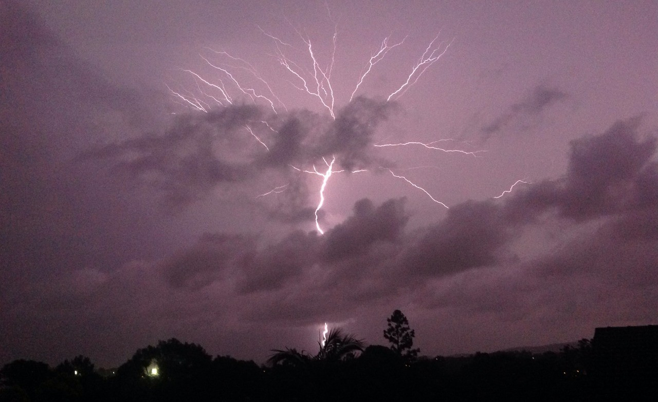 aesthetic, sky, pink and thunderstorms