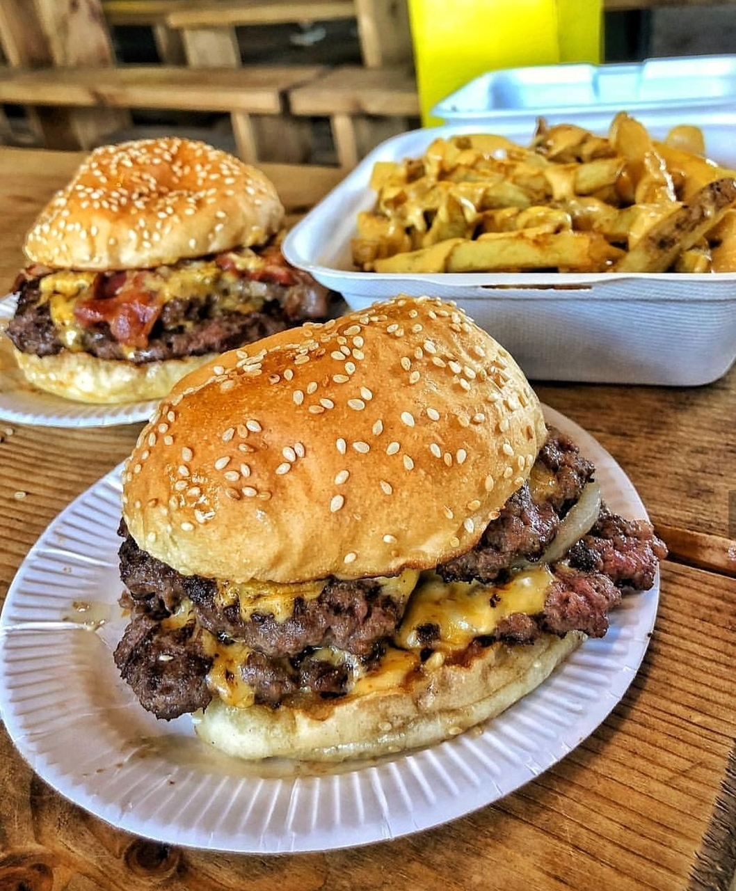 food, bacon, fries and cheese