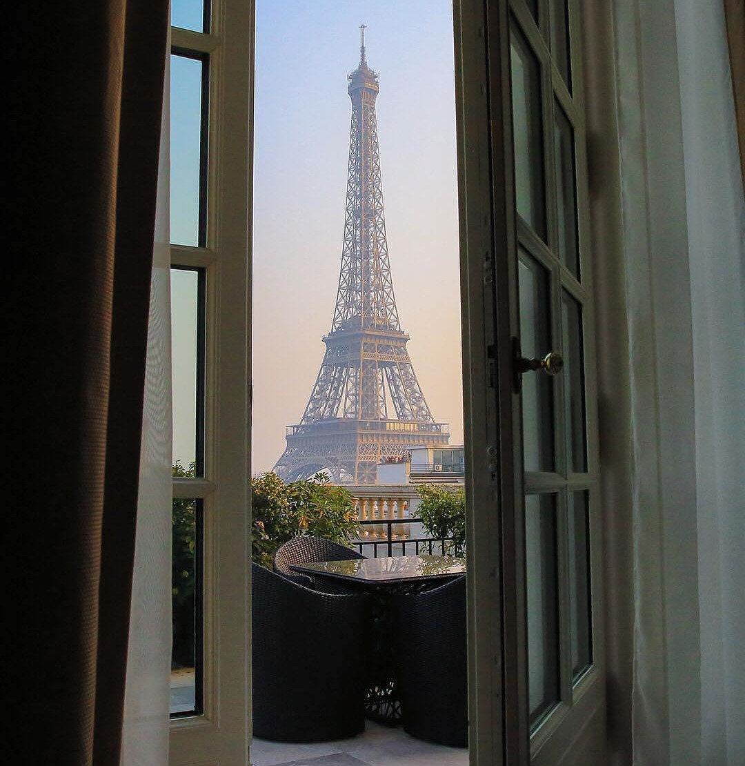 paris, view, eiffel tower and sunrise