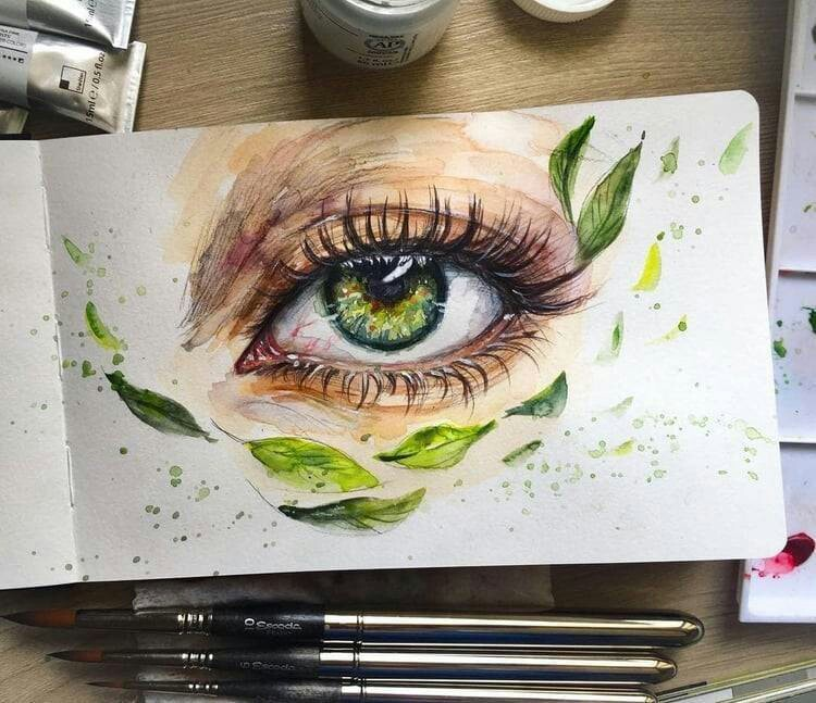 green, girl drawing, painting and drawing