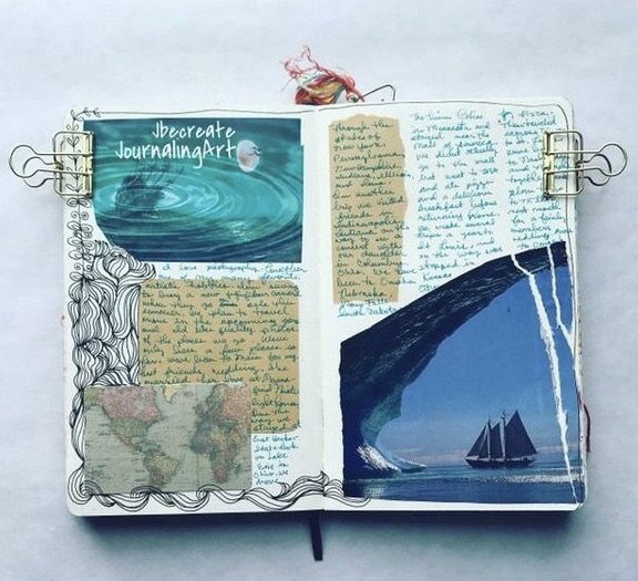 study notes, blue, moleskine journal and art