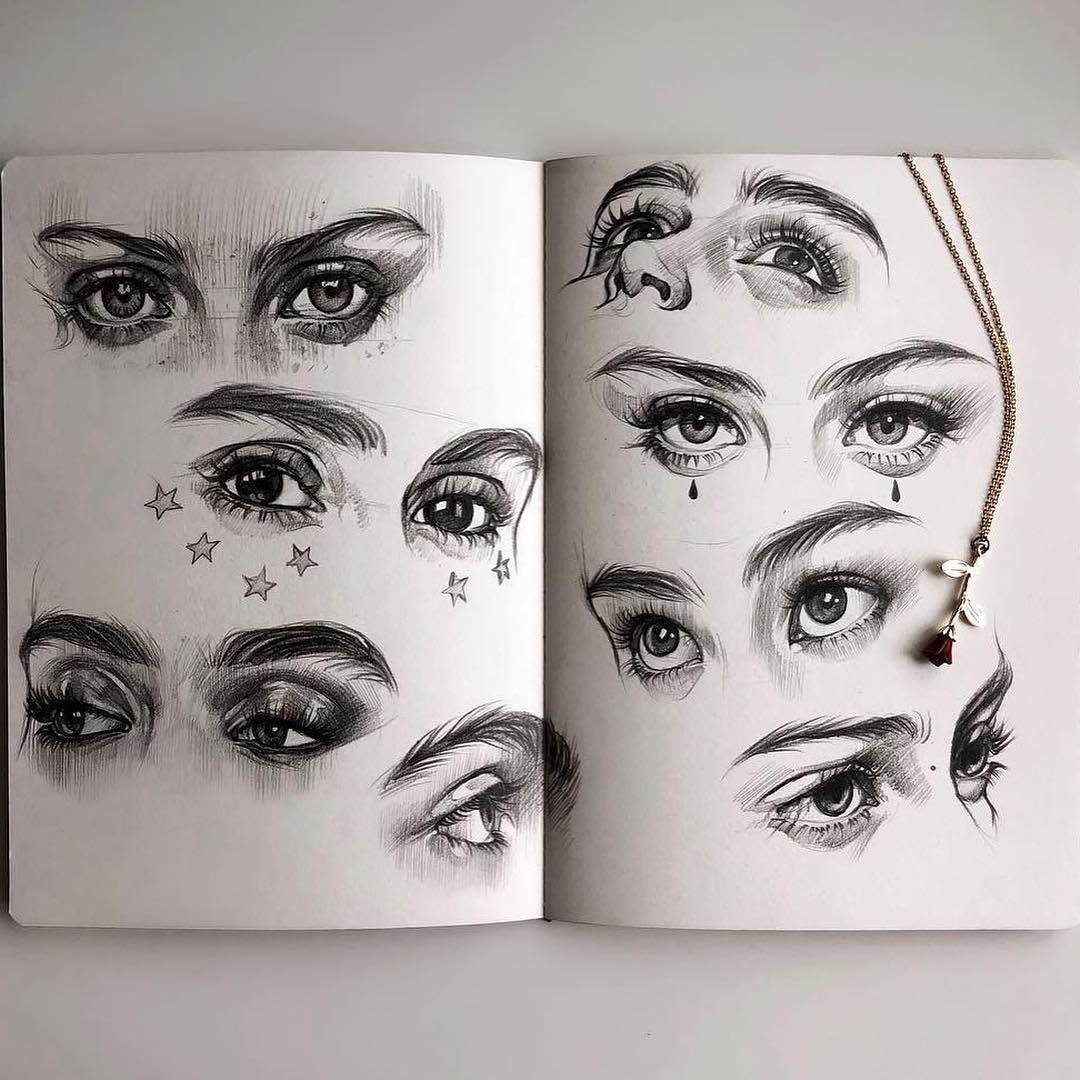 Body Parts Sketch Art And Eyes Image 6516449 On Favim Com