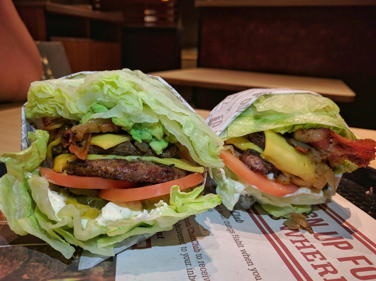 paleo, take out, credit and the habit burger grill